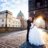 Wedding photo from Charles Bridge, Prague, Czech Republic